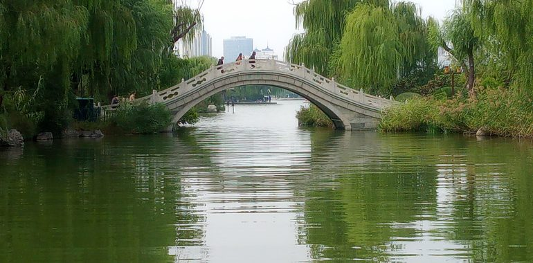 Bridge in Daming Hu park